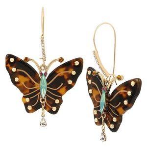 Betsey Johnson Tortoise Butterfly Drop Earrings